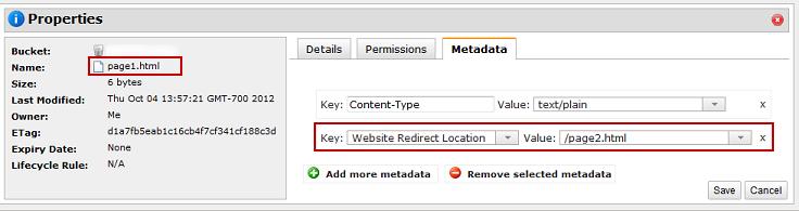הגדרת Redirect לאובייקט S3