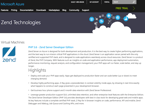 Zend Server on Azure Marketplace